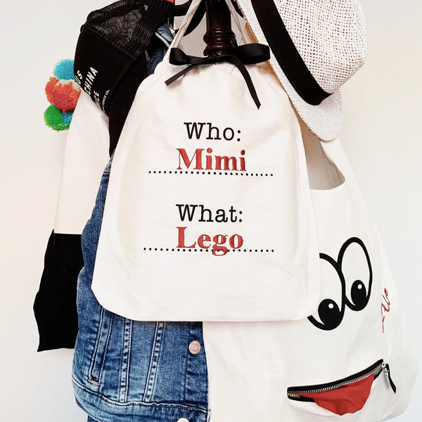 Who, What Organizing Bag, googly eyes tote
