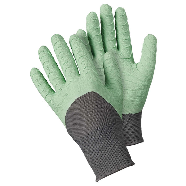Briers All Seasons Gardening Gloves, latex coated, size medium, Sage colour - Gardening Requisites