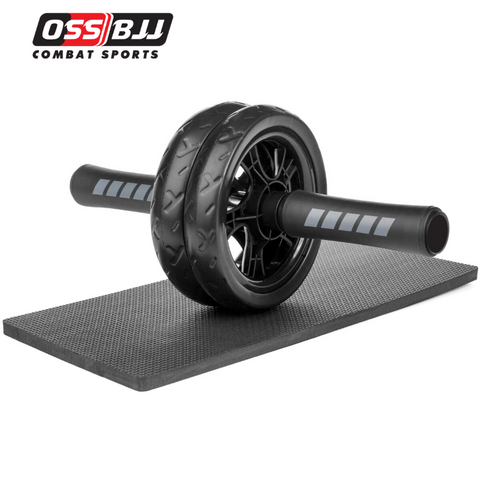 OSS - Abdominal Exercise Wheel Black Roller With Extra Thick Knee Pad Mat