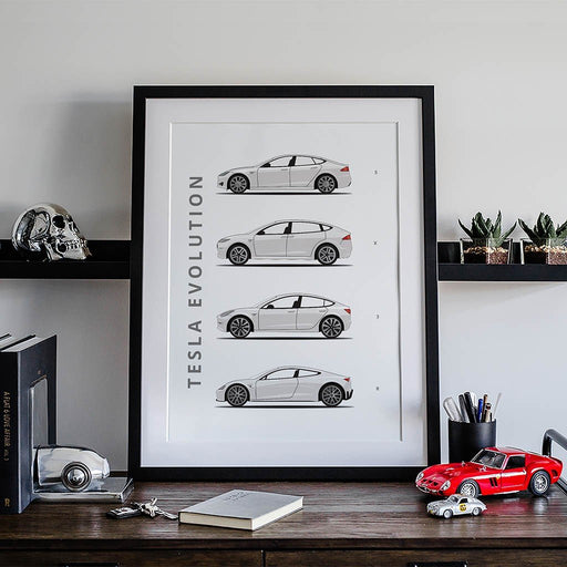 Tesla – Framed Car Poster
