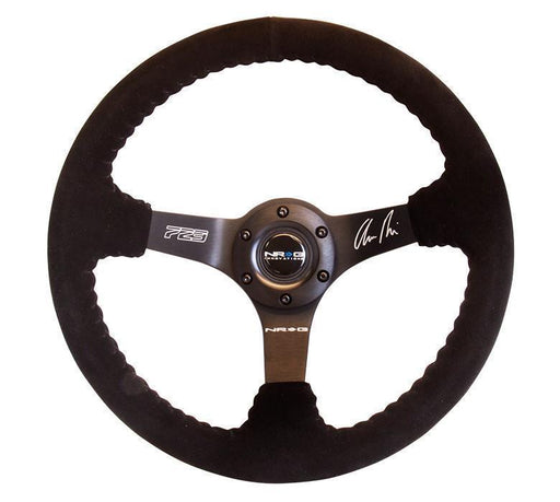 NRG Reinforced Steering Wheel-Odi Signature Race Style - 350mm Sport Steering Wheel (3' Deep) Black Suede W/ Black Baseball Stitching - Matte Black Spoke