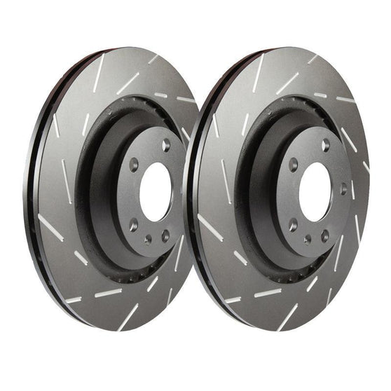 EBC Ultimax Grooved Front Brake Discs for Mazda 2 (DY)