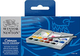 Winsor & Newton Cotman Water Colour Paint Sketchers' Pocket Box, Half Pans, 14-Pieces, - Nouveau Artiste