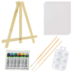 U.S. Art Supply 13-Piece Acrylic Artist Painting Set with Mini Table Easel, Canvas Panel, Brushes & Palette, - Nouveau Artiste