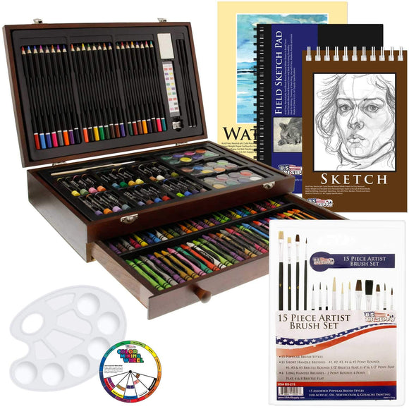 US Art Supply 162 Piece-Deluxe Mega Wood Box Art, Painting & Drawing Set That Contains All The Additional Supplies You Need to get Started., - Nouveau Artiste