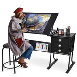 Tangkula Drafting Desk Drawing Table Adjustable with Stool and Drawers Black, - Nouveau Artiste