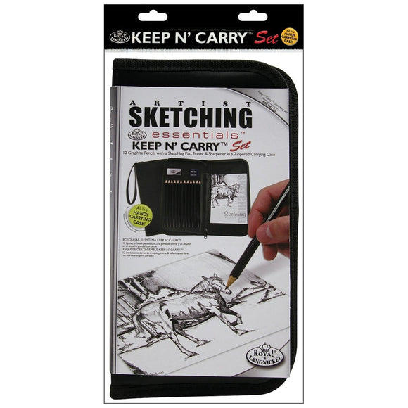 Drawing and Sketching Pencil Set In Zippered Carrying Case, - Nouveau Artiste