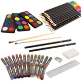 US Art Supply 82 Piece Deluxe Art Creativity Set in Wooden Case, Wood Desk Easel and Bonus 20 Additional Pieces - Deluxe Art Set, - Nouveau Artiste