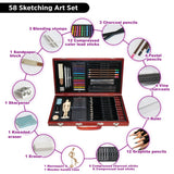 Professional Art Kit Drawing and Sketching Set 58-Piece Colored Pencils, Art Kit for Kids, Teens and Adults/Gift by LUCKY CROWN Wooden Box Set, - Nouveau Artiste