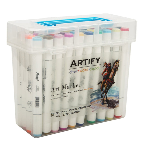 Artify Artist Alcohol Based Art Marker Set/ 40 Colors Dual Tipped Twin Marker Pens with Plastic Carrying Case, - Nouveau Artiste