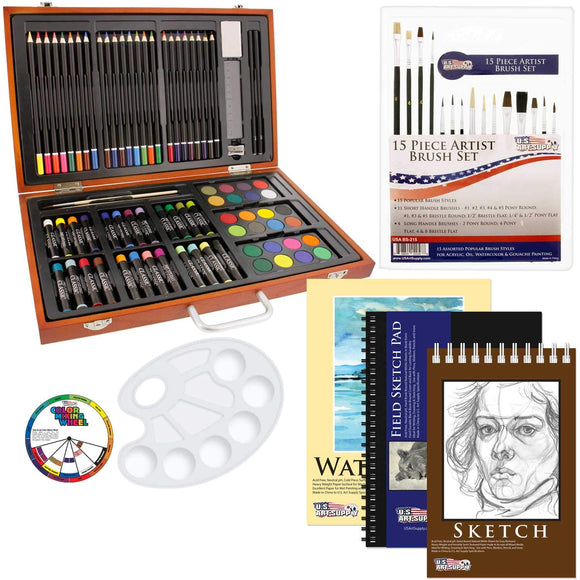 US Art Supply 82 Piece Deluxe Art Creativity Set in Wooden Case with Bonus 20 Additional Pieces - Deluxe Art Set, - Nouveau Artiste