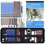Drawing Pencils Set,52 Pack Professional Sketch Pencil Set in Zipper Carry Case, - Nouveau Artiste