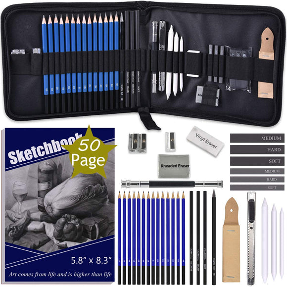 ARTOSA Drawing Pencils with Sketch Book 50 Pages, 35 Piece Sketch Pencils, - Nouveau Artiste