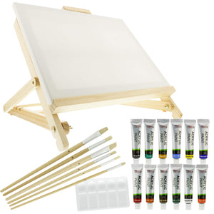 US Art Supply 21-Piece Acrylic Painting Table Easel Set with, 12-Tubes Acrylic Painting, - Nouveau Artiste