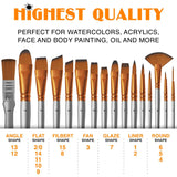 BENICCI Paint Brush Set of 16 - 15 Different Shapes + 1 Flat Brush - with Pallete Knife, - Nouveau Artiste