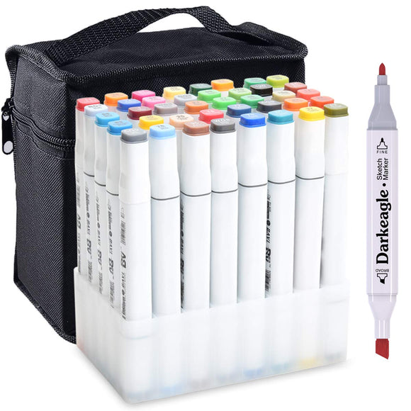Markers, 40 Colors Art Marker Set, New Generation Dual Tip Permanent Marker pens, - Nouveau Artiste