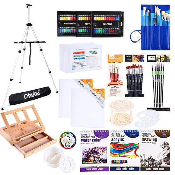 Artist Painting Set, 128Pcs Artist Set W/ Table-Top & Field Easels, - Nouveau Artiste