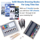 Professional Art Set 85 Piece with 3 x 50 Page Drawing Pad, Deluxe Art Set, - Nouveau Artiste