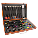 "U.S. Art Supply 82 Piece Deluxe Art Creativity Set in Wooden Case with 9""x12"" 90 Pound 30 Sheet Sketch Pad, - Nouveau Artiste"