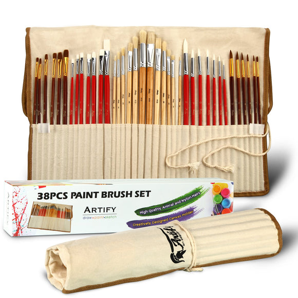 Artify 38 Pcs Paint Brushes Art Set for Acrylic Oil Watercolor Gouache, - Nouveau Artiste
