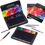 48 Colored Pencils,Art Supplies with 2 x 50 Page Drawing Pad(A4), - Nouveau Artiste