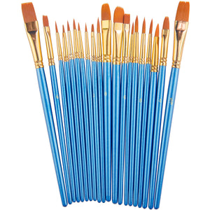 Paint Brush Set by heartybay, 20 pcs Nylon Hair Brushes for Acrylic Oil Watercolor Painting Artist Professional Painting Kits, - Nouveau Artiste