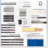 Drawing Pencils and Sketch Kit (41 pieces) - Full Size 100 Sheets Sketch Pad, - Nouveau Artiste