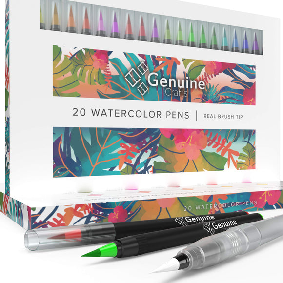 Watercolor Brush Pens by Genuine Crafts - Set of 20 Premium Colors, - Nouveau Artiste