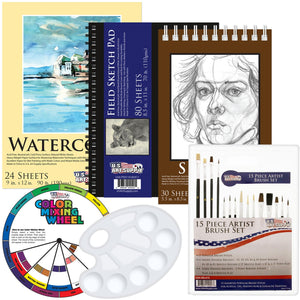 US Art Supply 20 Piece Artist Drawing, Sketch and Painting - Paper and Brush Accessory Pack, - Nouveau Artiste