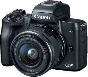 Canon EOS M50 Mirrorless Camera Kit w/EF-M15-45mm and 4K Video - Black, - Nouveau Artiste