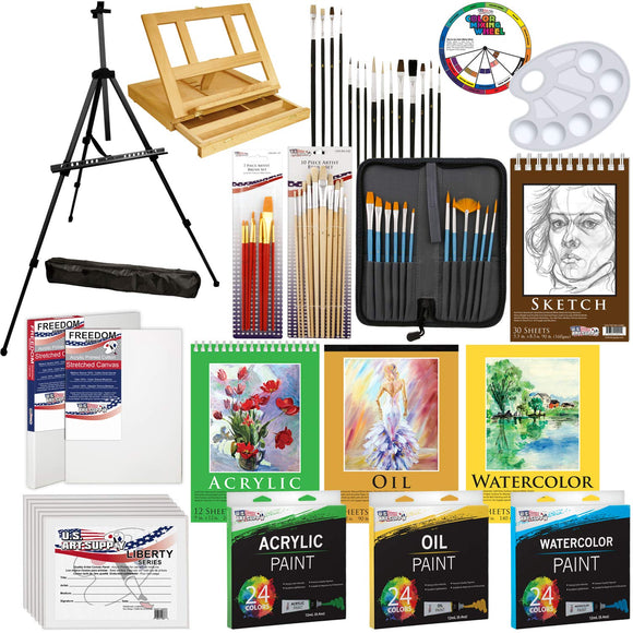 US Art Supply 133pc Deluxe Artist Painting Set with Aluminum and Wood Easels, Paint and Accessories, - Nouveau Artiste