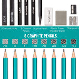 Drawing Set - Sketching and Charcoal Pencils - 100 Page Drawing Pad, - Nouveau Artiste