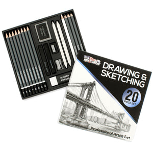 U.S. Art Supply 20 Piece Professional Hi-Quality Artist Sketch Set in Hard Storage Case, - Nouveau Artiste