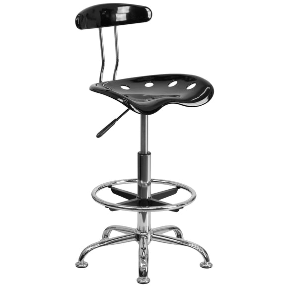 Flash Furniture Vibrant Black and Chrome Drafting Stool with Tractor Seat, - Nouveau Artiste