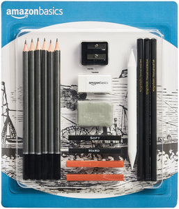 AmazonBasics Sketch and Drawing Art Pencil Kit - 17-Piece Set, - Nouveau Artiste