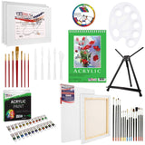 U.S Art Supply 60-Piece Deluxe Acrylic Painting Set with Aluminum Tabletop Easel, - Nouveau Artiste