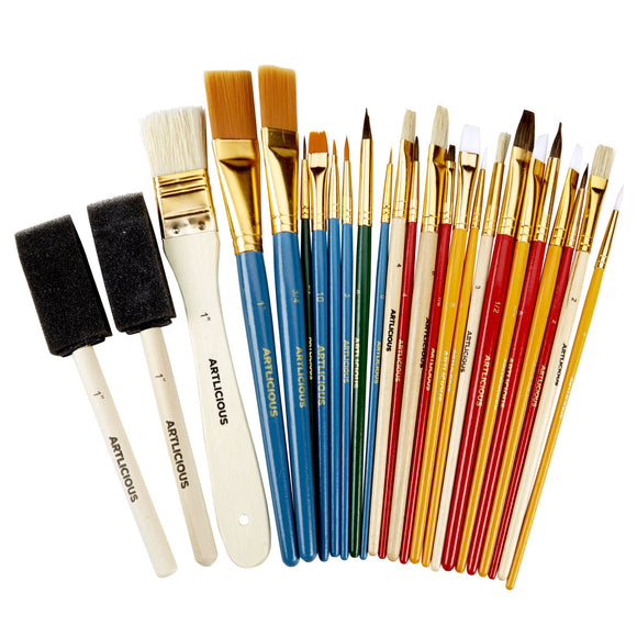 Artlicious - 25 All Purpose Paint Brush Value Pack - Great with Acrylic, Oil, Watercolor, Gouache, - Nouveau Artiste