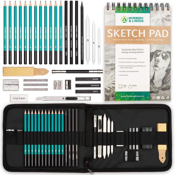 XL Drawing Set - Sketching, Graphite and Charcoal Pencils. Includes 100 Page, - Nouveau Artiste