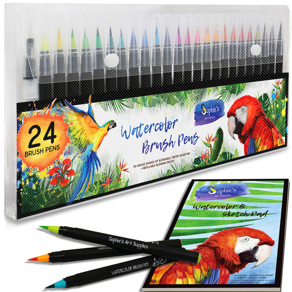 Premium Watercolor Real Brush Pens by Sophie's Art Supplies [24 Pack], - Nouveau Artiste