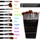 Paint Brushes 12 Set Professional Paint Brush Round Pointed Tip Nylon Hair Artist Acrylic Brush for Acrylic Watercolor Oil Painting by Crafts 4 ALL, - Nouveau Artiste