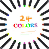 24 or 12 Fineliner Color Pens Set, Fine Line Colored Sketch Writing Drawing Pens, - Nouveau Artiste