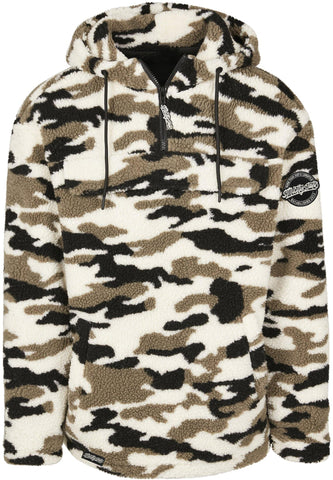 Camo Sherpa Pull Over Jacket