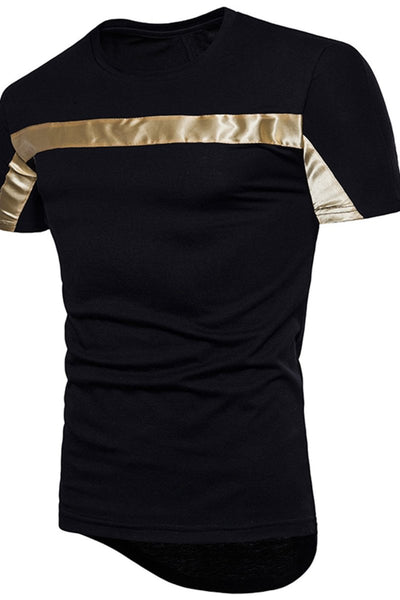 Golden Transverse Striped Men's T-Shirt