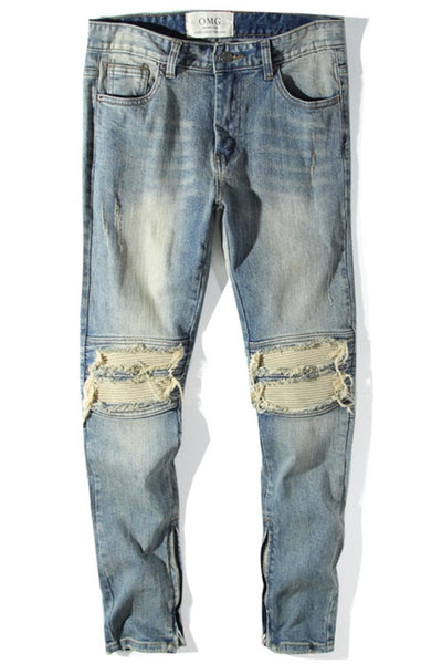 Light Wash Ripped Knee Jeans