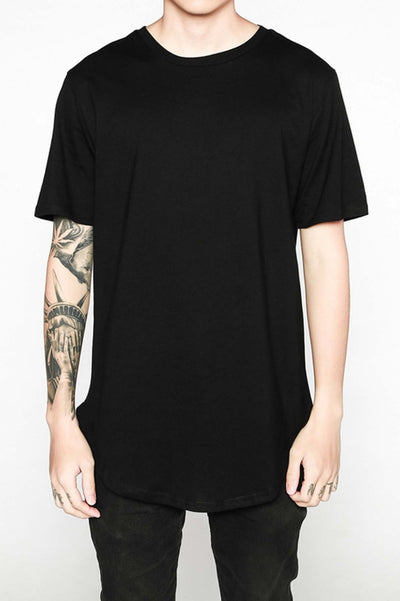 Scooped Hem Short Sleeve Crew Neck T-Shirt