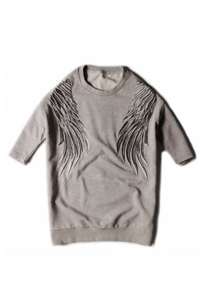 Embroidered Wings Short Sleeve Sweater