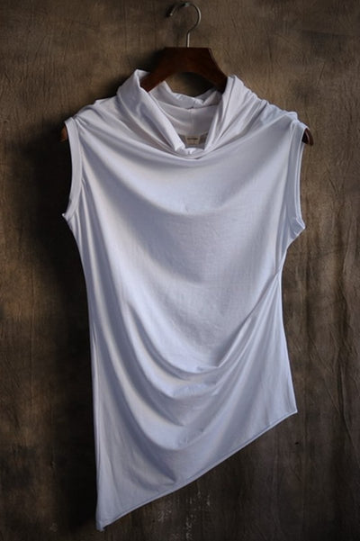 Asymmetric Draped Sleeveless T-shirt
