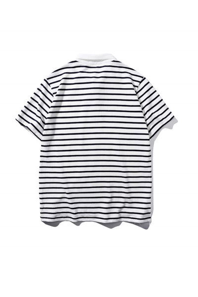 Striped Short-Sleeved Polo Shirt