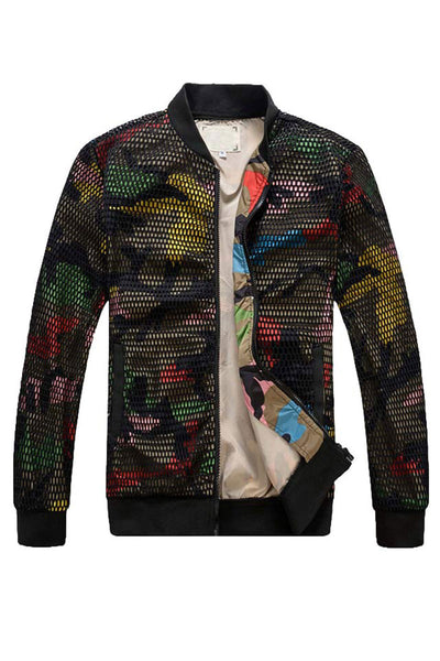 Hollow Out Camo Bomber Jacket