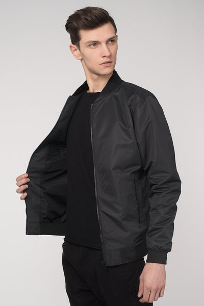 Black Windbreaker Bomber Jacket